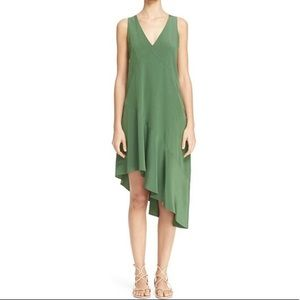 Size 6 Tibi Green Silk Asymmetrical Midi Dress